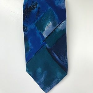 Altea Milano blue watercolor silk tie